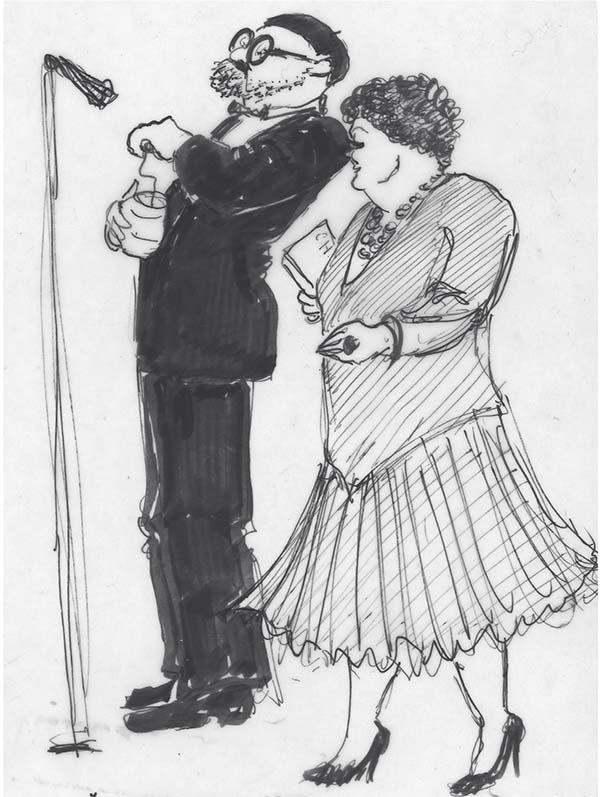 Per Pallesen og Grethe Sønck på Amager Scenen i 1988. Tegning Anne-M;arie Høeg.