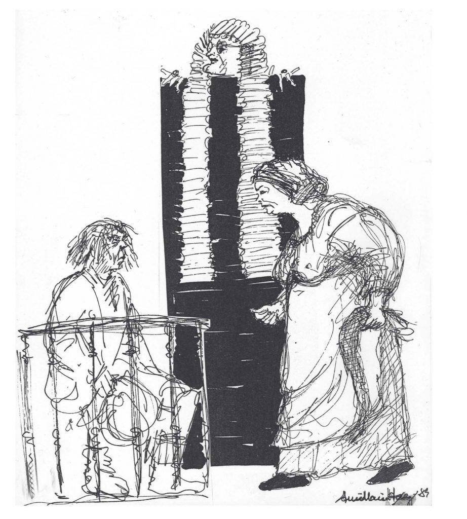 Ole Ernst, Finn Storgaard, og Lone Helmer 1989. Tegning Anne-Marie Høeg