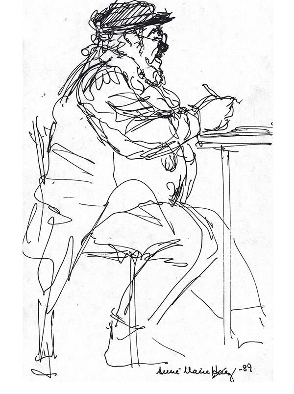 Erik Paaske 1989. Tegning Anne-Marie Høeg